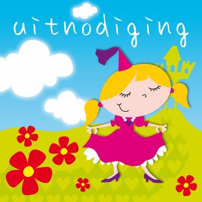 Een vrolijke uitnodiging voor een kinderfeestje. Kenmerken: meisje, meisjes, prinses, prinsessen, feest, uitnodiging, feestje, hartjes, bloemen, roze.  (Uitnodiging, kinderfeestje, prinses)