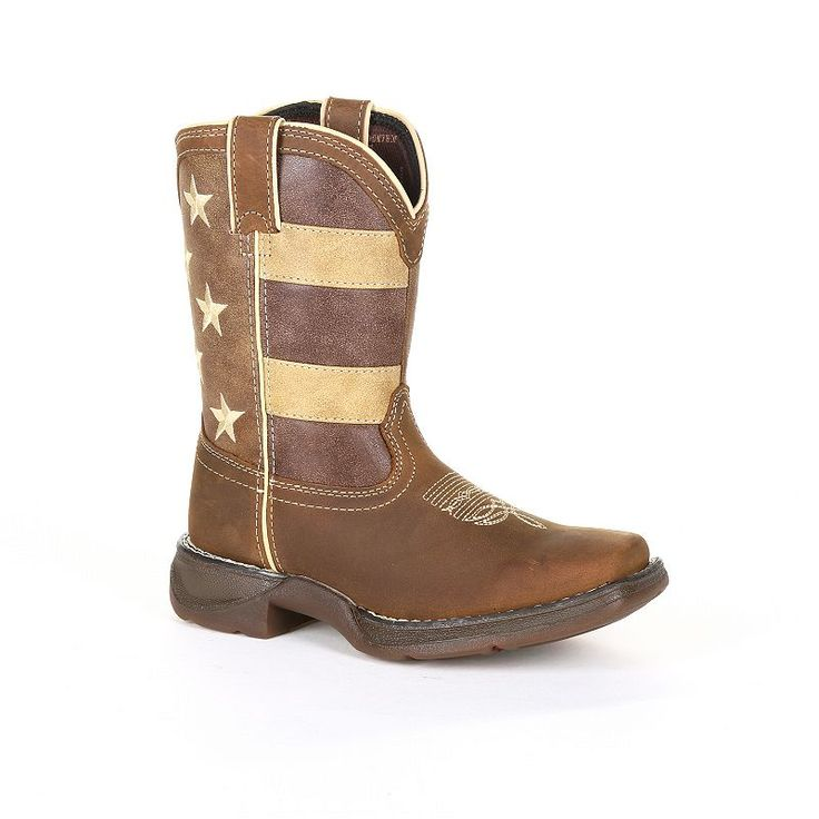 Lil Rebel by Durango Faded Glory Flag Toddler Western Boots, Kids Unisex, Size: 2, Brown