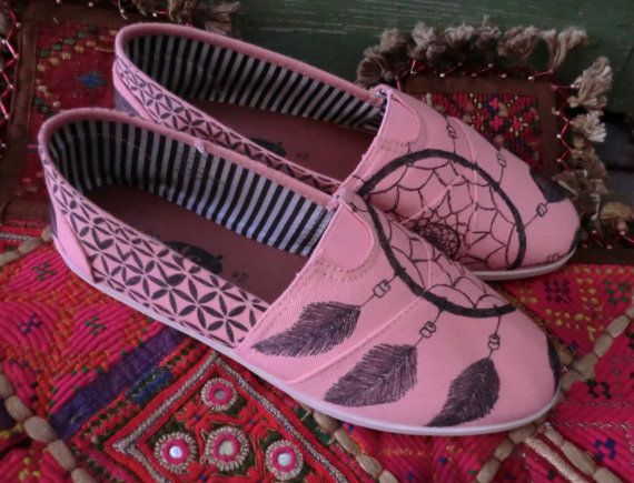 GYPSY DREAMS - Hand Decorated Toms Style SHOES. $65.00, via Etsy.
