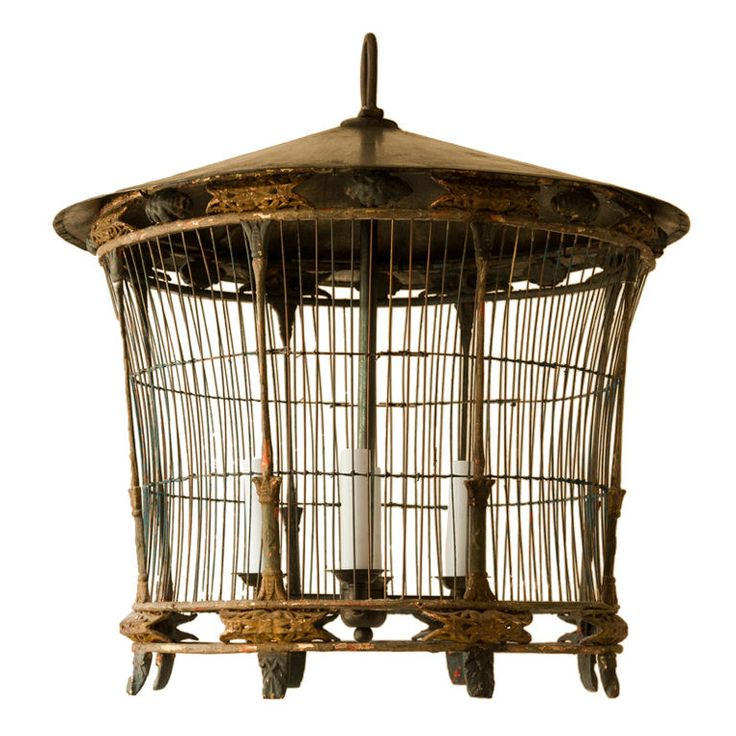 Round oriental style paper and wood bird cage chandelier | From a unique collection of antique and modern bird cages at https://www.1stdibs.com/furniture/more-furniture-collectibles/bird-cages/