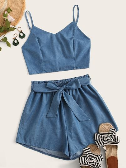 Shirred Cami Top With Belted Paperbag Shorts 2