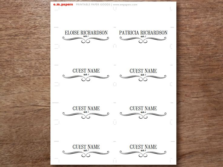 60 best Printable Place Cards images on Pinterest Card patterns - guest card template