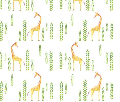 Standing tall - hand painted giraffe illustration by lisa-glanz