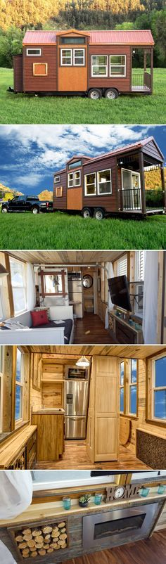 This 204 sq.ft. rustic tiny house features a metal deep soak bathtub, two lofts, an electric fireplace, a full refrigerator, and beetle kill pine interior.