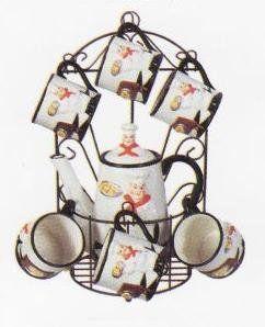 italian chef kitchen decor items | CHEF 9pc TEA Set Pot u0026 Cups w/Iron