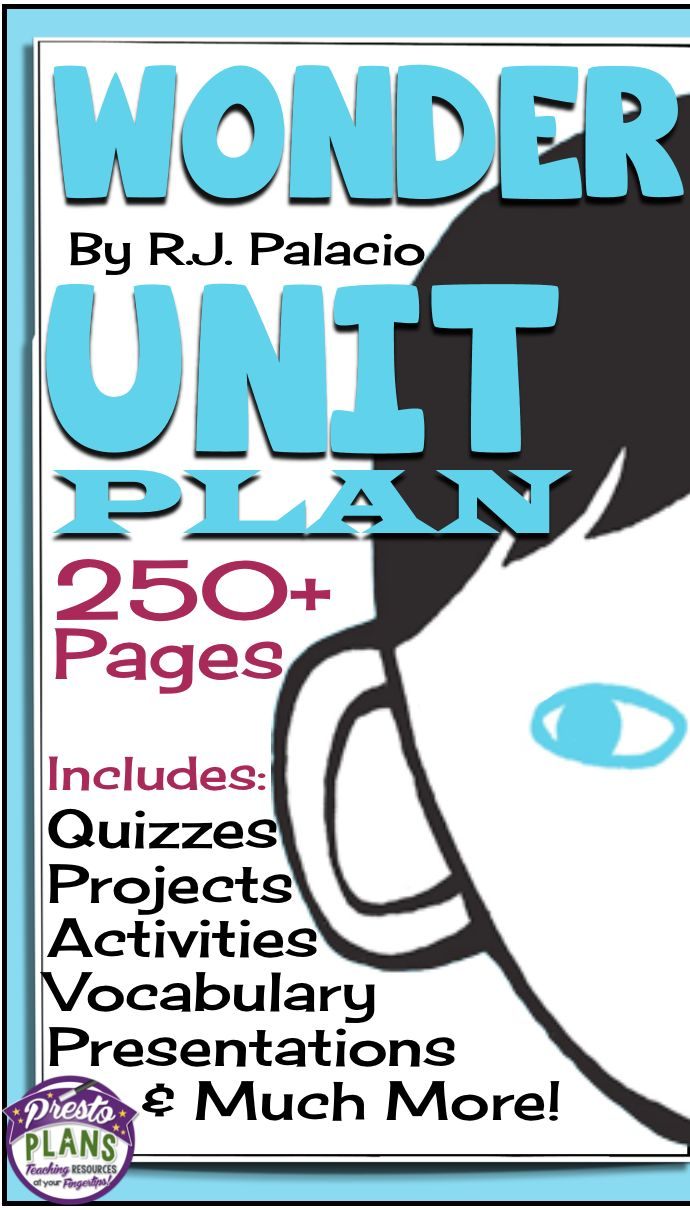 WONDER by RJ Palacio: Unit Plan - Assignments, Presentations, Quizzes, Vocabulary & Activities