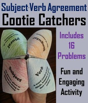These subject-verb agreement cootie catchers are a great way for students to have fun while gaining fluency with subject-verb agreement. How to Play and Assembly Instructions are included.Some questions require students to select the right verb, and some the correct noun.