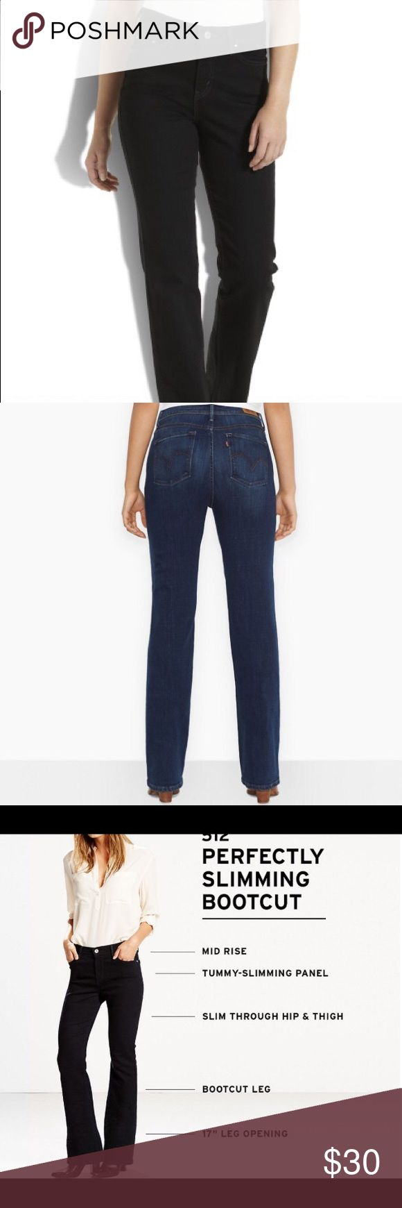 """Levi's 512 Perfectly Skimming Bootcut Jeans Levi's 512 Perfectly Skimming Bootcut Jeans. Waist 14"""", hips 19"""", inseam 32"""". 98% Cotton and 2% Spandex. Levi's Jeans Boot Cut"""