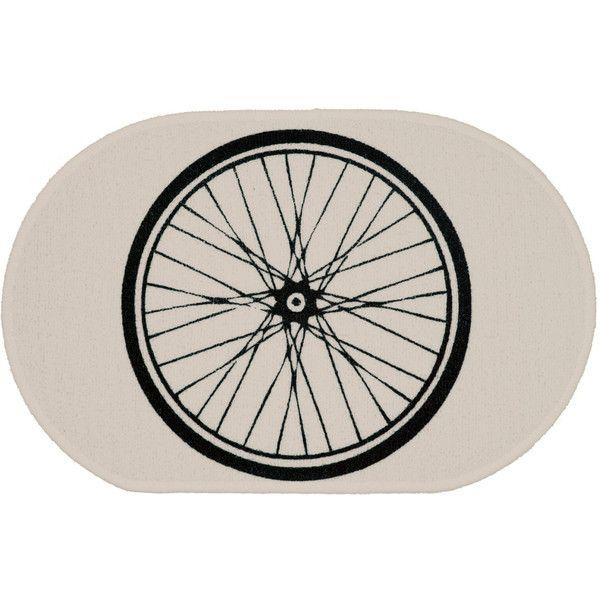 Bike Wheel White Rug Bath Mat or Door Mat ($25) ❤ liked on Polyvore featuring home, bed & bath, bath, bath rugs, bath mats & rugs, bathroom, home & living, silver, animal mat and white mat