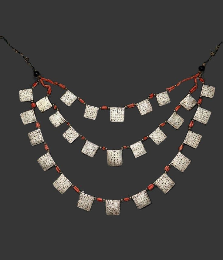 Morocco | Necklace; three rows of silver plated copper squares, coral beads on fibre cord | Ida Ou Semlal | 700€ ~ sold (Feb '14)