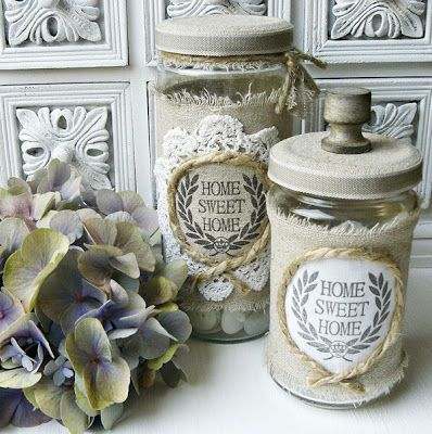 Vintage Inspired made from old pickle jars.