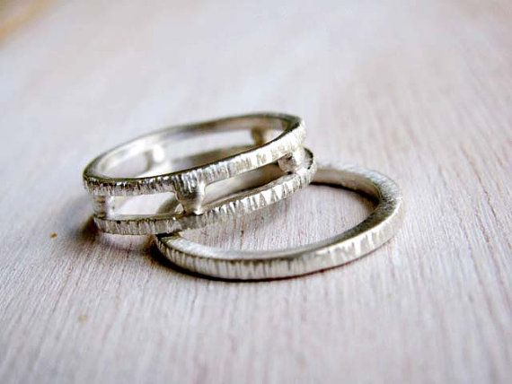 grecian geometrical wedding bands set of two organic wedding rings double wedding ring - Double Band Wedding Ring