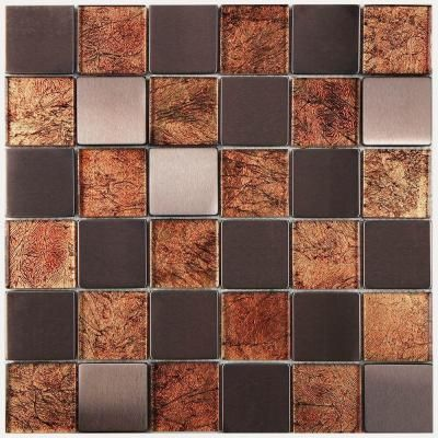 Merola Tile Frosted Quad Chocolate 12 In X 12 In X 8 Mm
