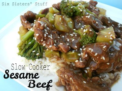 Slow Cooker Sesame Beef- only a few ingredients needed to make this delicious dish! SixSistersStuff.com #recipe #slowcooker