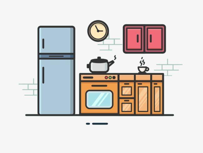 Cartoon Kitchen Kitchen cartoon Flat design illustration Quiet book templates