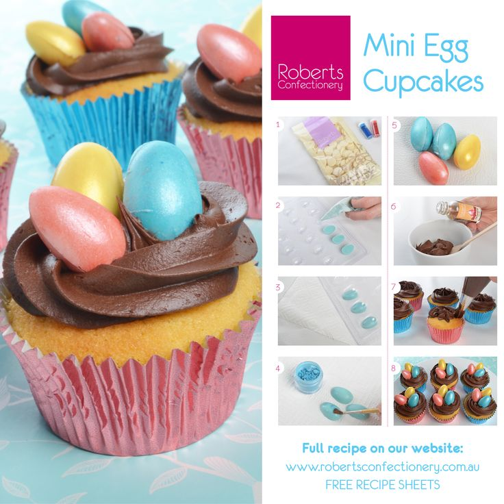 Make these with Roberts Vanilla Mud Cake Mix, Roberts Easter Egg mould, Roberts melting buttons & Roberts cupcake cases.