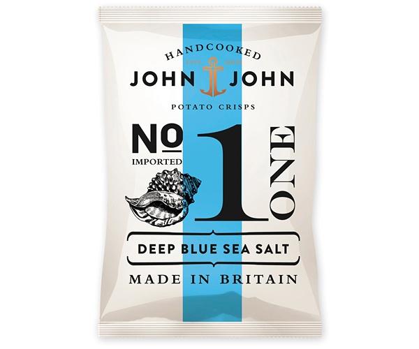 John & John crisps packaging, design by Peter Schmidt group