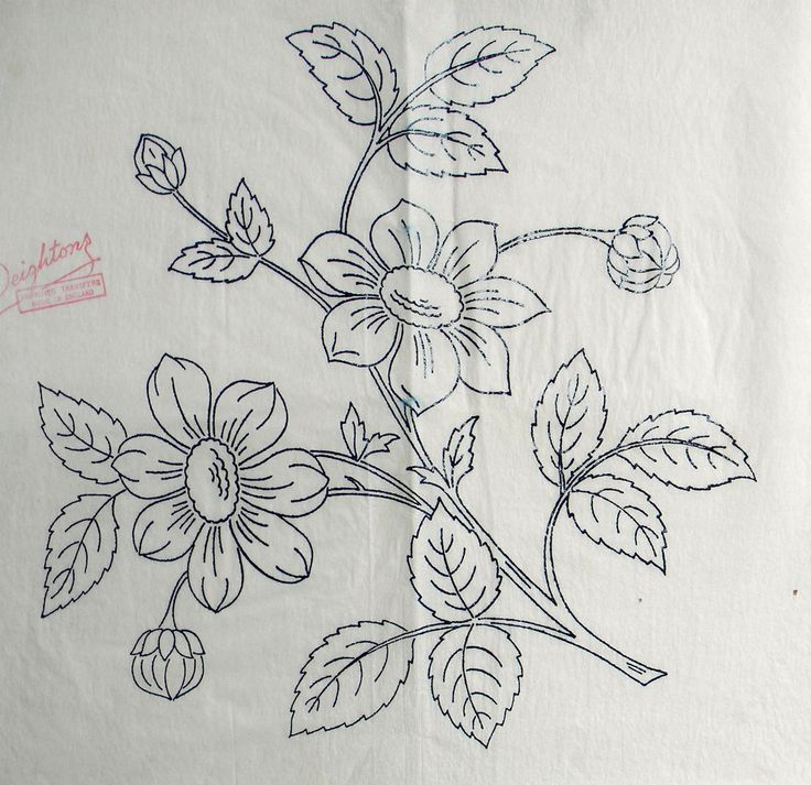 VINTAGE EMBROIDERY TRANSFER  - SPRAY OF FLOWERS - SMALL CUSHION