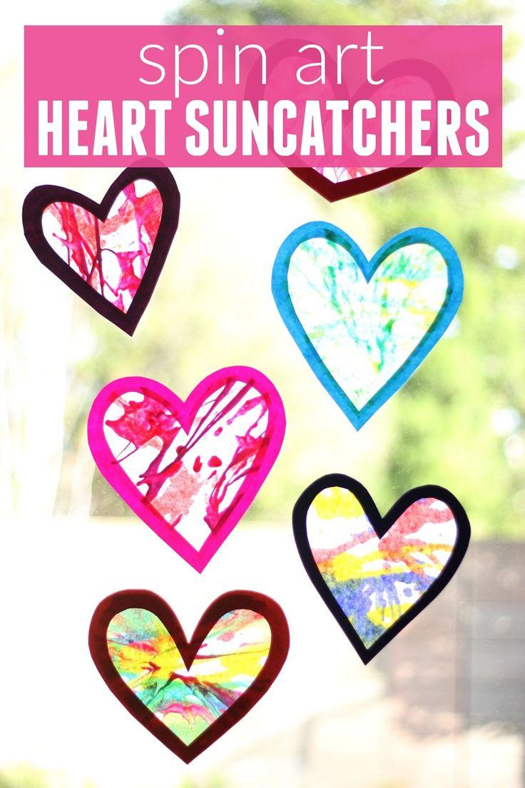 Valentines arts and crafts - Spin Art Heart Suncatchers