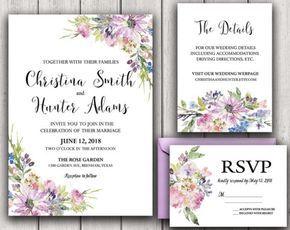 Floral Wedding Invitation Printable Wedding Invitation Suite Rustic Wedding Invite Boho Wedding Invite Asters Violets Wedding Purple DIY