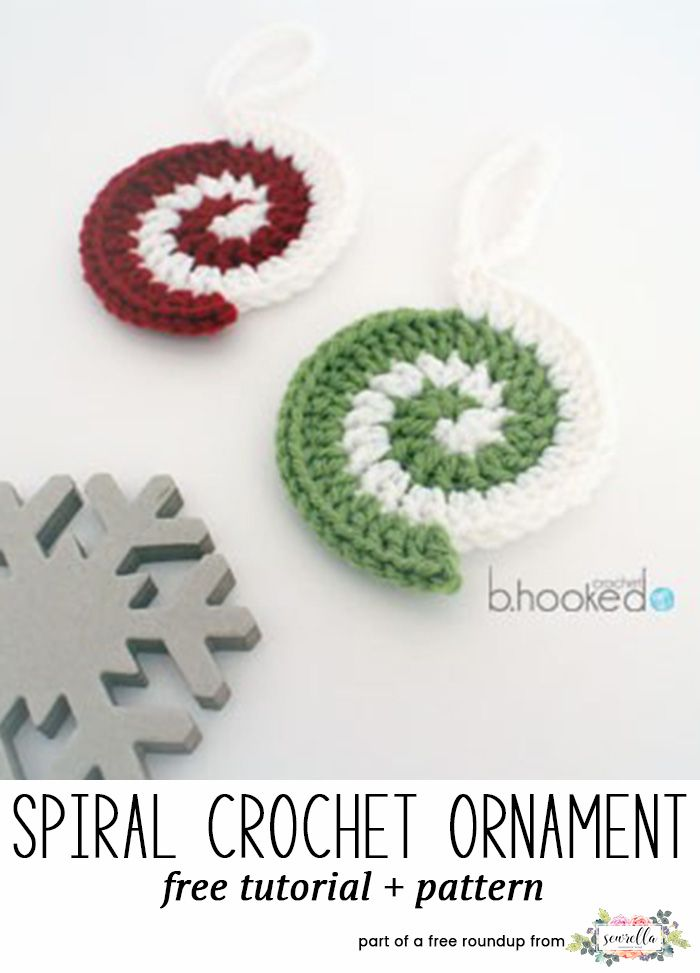 Crochet this easy spiral swirl candy christmas ornament from BHooked Crochet from my free crochet christmas ornaments roundup!