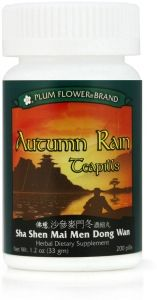 Autumn Rain may be used for the following:  Lung dryness Chronic dry cough Cough with scant phlegm Red, dry tongue Dry throat and thirst Dry mouth
