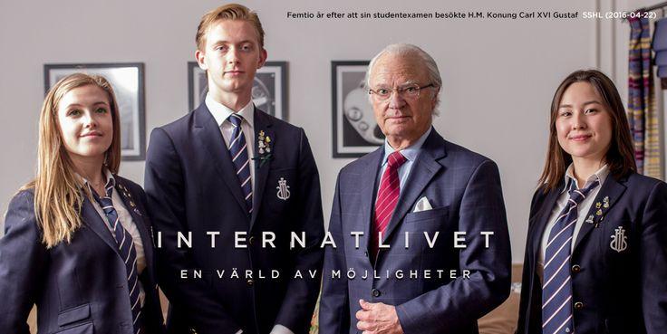 HM  King Carl XVI Gustaf, King of Sweden + Robina Palm, Erik Landgren & Sofia Hannson. Sigtunaskolan Humanistiska Läroverket / SSHL, April 2016. Photo: Vilhelm Edgren