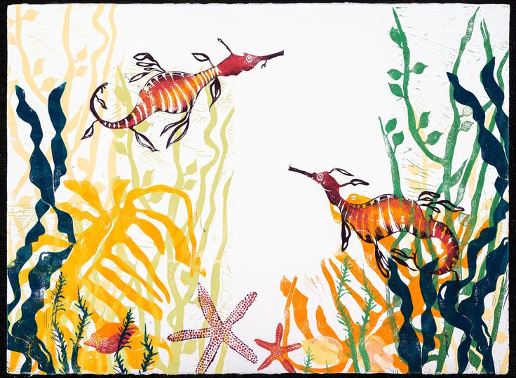 """Sea dragons"" Linocut Print 2013"