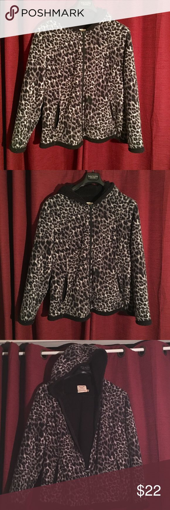 animal print woman's hoodie  this is a cute animal print hoodie with a black inside two side pockets it's a Greystone color zipper front waist length 100 percent poly in good condition very nice this has been dry cleaned or laundry before it goes out Faded Glory Jackets & Coats