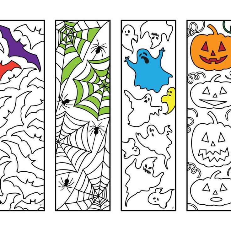 Halloween Bookmarks PDF Zentangle Coloring Page (With