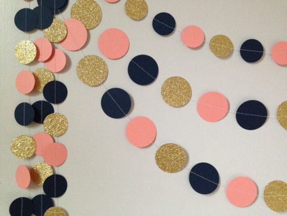 Gold glitter coral/peach navy blue 10 ft. circle von SewBotGirl
