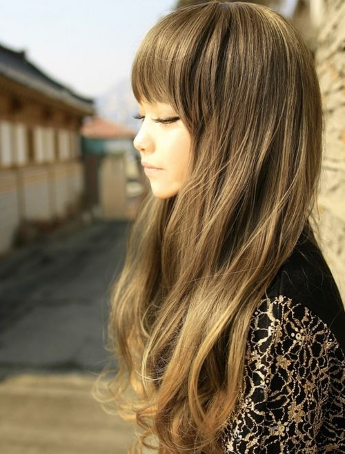 Long Wavy Hair With Blunt Bangs for Asian Hairstyles