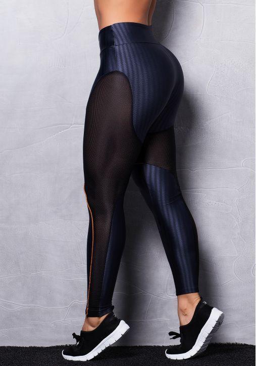 Calça Legging Brilho com Tela e Detalhes em Bronze - Moda Fitness  Linha  completa com preço de fábrica  a34432d5f46