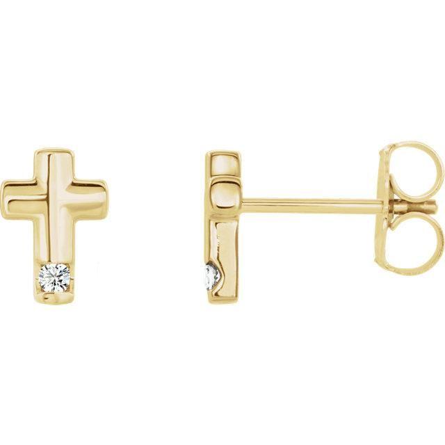 .03 CTW Diamond Cross Earrings - 14K Yellow Gold