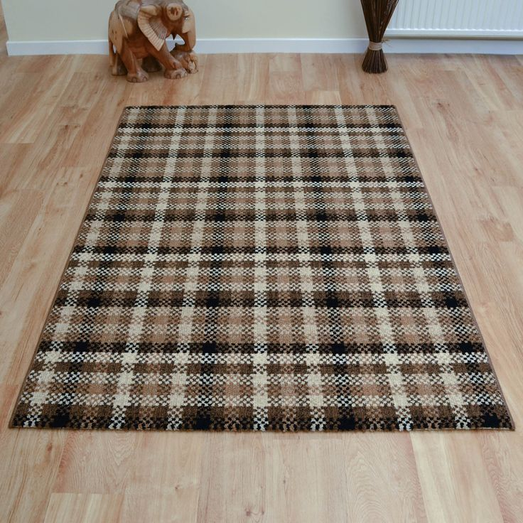 Stunning Tartan Rug design in Brown and Beige