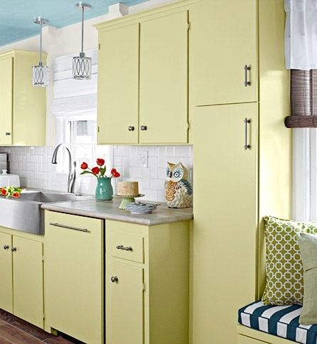 Repaint Outdated Cabinets In A Light Color To Give Them New Life And Brighten Your Kitchen Pale Yellow