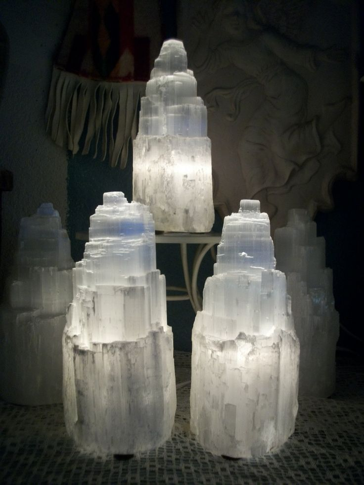 """Selenite Crystal Tower Electric Lamp, X Large. Spiritual Activation & Communion Purifying Gypsum 8.5"""" x 12.5"""". via Etsy."""