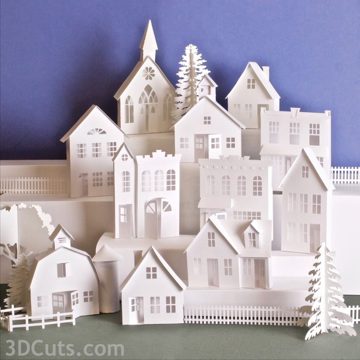 246 best houses paper clay multimedia images on pinterest ledge village by marji roy of 3dcuts solutioingenieria Images