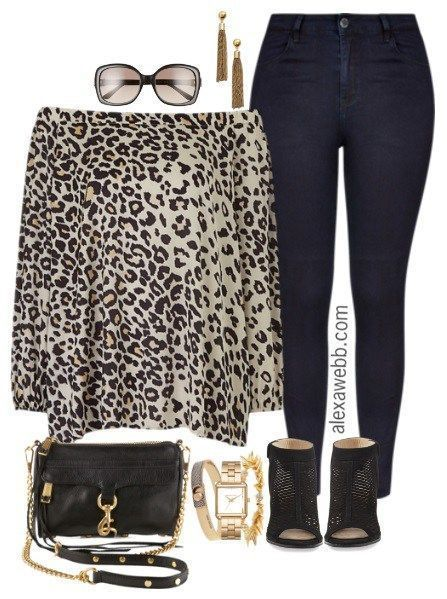 Plus Size Leopard Off-the-Shoulder Blouse Outfit - Plus Size Fashion for Women - alexawebb.com #alexawebb