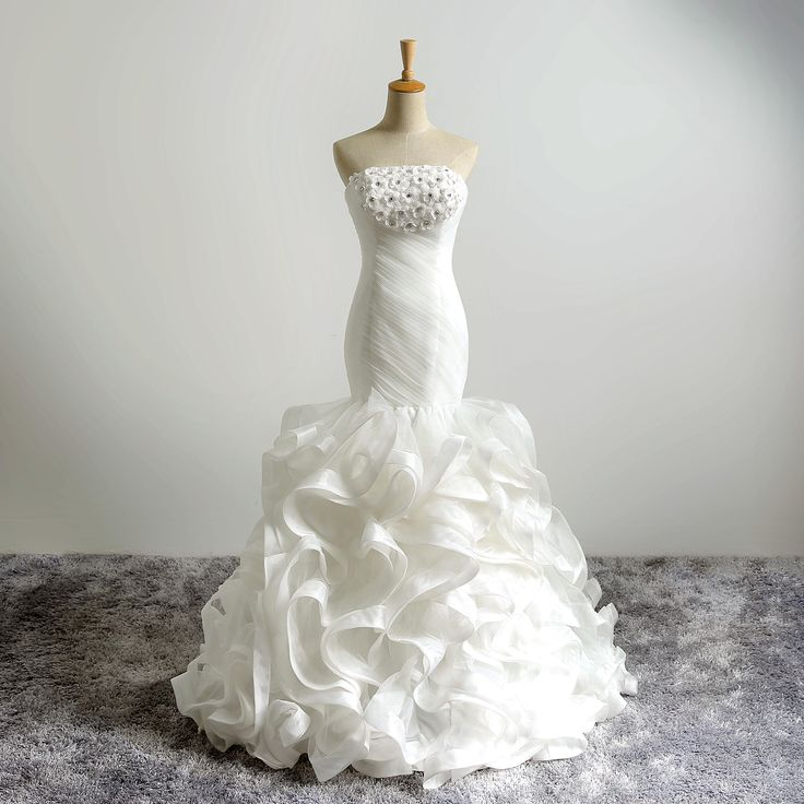 2018 Simple Bridal Gown with Handmade 3D Flowers Beaded Ruffle Pleat Wedding Dresses Mermaid Wedding Gowns vestido de novia princesa encaje