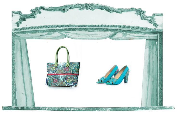 Sfere alchemiche collection spring summer 2015: scarpa e borsa Mercurio