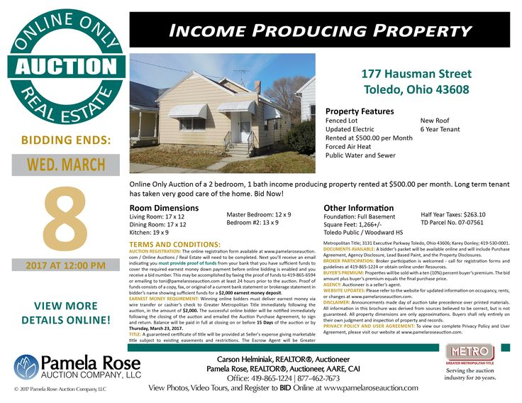 Well Taken Care of Home – Online Only Auction at 177 Hausman Street, Toledo, Ohio 43608 - Bidding Ends: Wednesday, March 8, 2017 at 12:00 pm. 2 bedroom, 1 bath home currently rented at $500/month, 6 year tenant, and new roof. View the auction brochure, photos, video tour, and register to bid online. Pamela Rose Auction Company, LLC.
