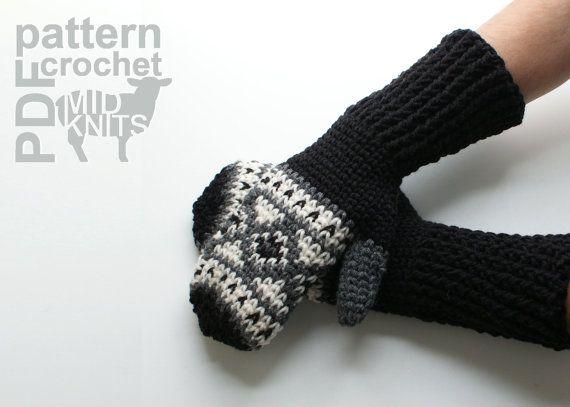 DIY Crochet PATTERN Fair Isle Crochet Diamond Mittens by Midknits
