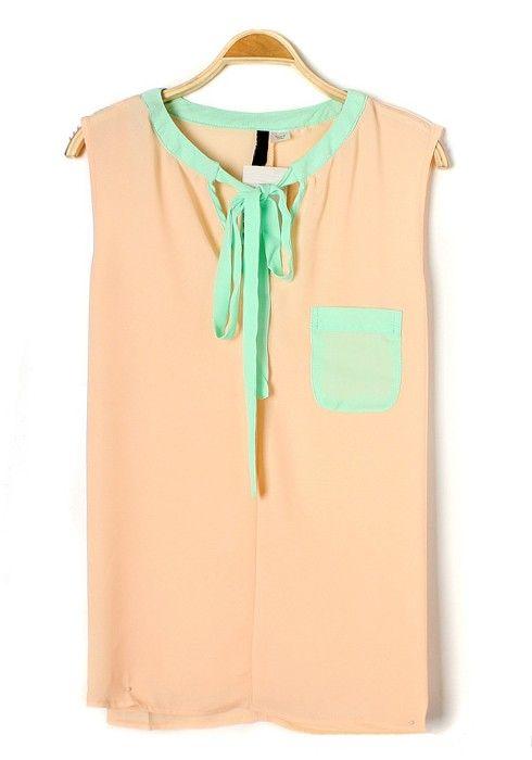 Pink Patchwork Drawstring V-neck Sleeveless Pockets Chiffon Blouse