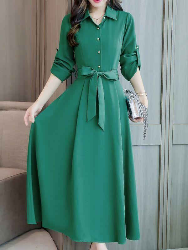 best service best quality sale online Shirt Collar Maxi Dress A-line Daytime Dress Half Sleeve ...