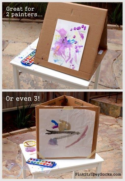 Turn a cardboard box into a DIY Cardboard Art Easel that accommodates 1, 2, or even 3 kids!  Great for play date!