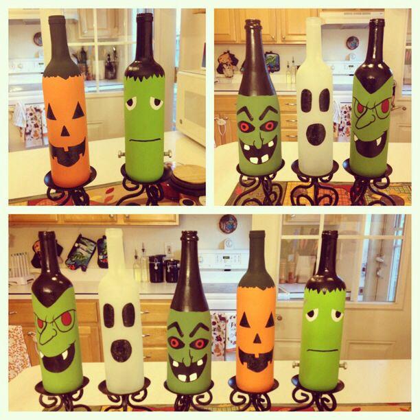 Halloween wine bottles I painted