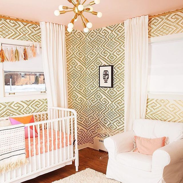 This nursery (and that wallpaper) totally wins the GOLD medal. LOVE.  Image: @cooperadooper  Design: @allison_reimus  Wallpaper: @relativitytextiles