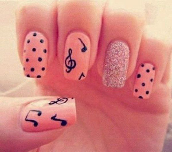 music notes, polka dots on pink nails - 70 Cool Nail Designs | Art and Design