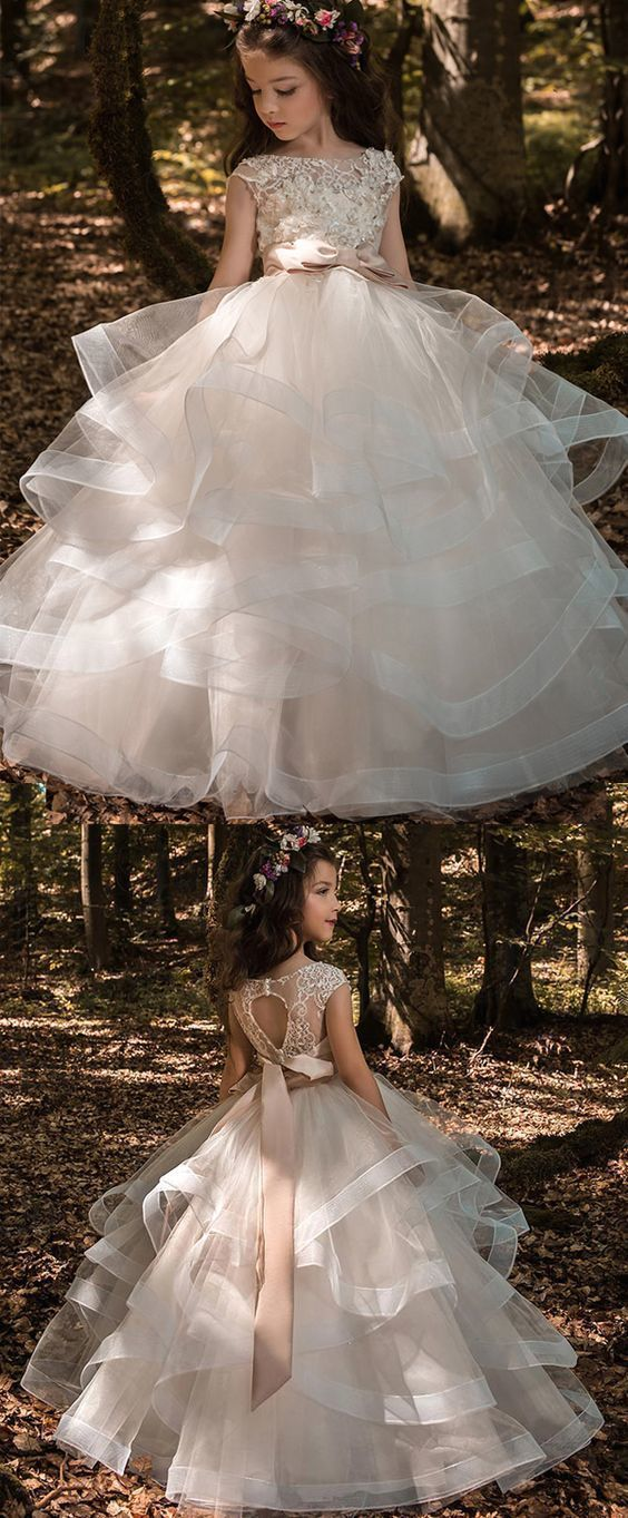 Boho Prom Dress, Pretty Tulle & Elasticated Net Bateau Neckline Ball Gown Flower Girl Dresses With 3D Lace Appliques & Beadings & Belt